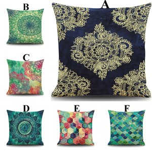 2016 New Geometric Pattern Cushion Cover Green Plants Home Cushion Case 45*45CM 18 Inch Linen Cushion Outside Cloth Family Gift Pillow Case