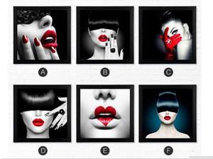 6pc nouvelles lèvres sexy beauté pour bar salon de coiffure, pur peint à la main peinture murale moderne décor abstrait peinture à l'huile sur toile