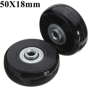 2pcs 50mm Black Luggage Suitcase Replacement Rubber Wheel Roller Suitcase Repair Parts