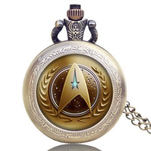 Atacado-Hot Sale Star Trek Extensão Golden Symbol Design Colar Relógio De Bolso Frete Grátis