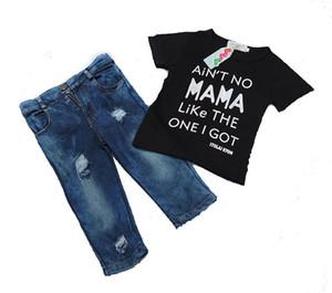 Crianças meninos meninas roupas Carta dos desenhos animados impressão T-shirt + calças jeans 2 pçs / set Algodão roupas de bebê crianças Roupas frete grátis C1147