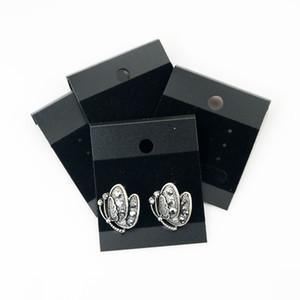 La Cina all'ingrosso 200pcs / lot del commercio all'ingrosso della carta di imballaggio dei monili 4.3 * 5.2cm Black Plalstic PVC Velluto moda gioielli orecchini visualizzazione etichette appese