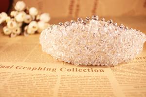 Luxus voll transparent kristall tiaras hochzeit zubehör braut 2016 perlen kristall braut haarverschönerungen in silber o325