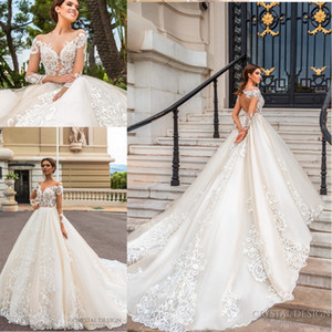 2018 깎아 지른 롱 슬리브가 달린 멋진 디자이너 웨딩 드레스 환상 넥 라인 풀 레이스 어플리 키홀 백 코트 트레인 브라이 덜 드레스