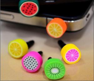 Toptan 2000pcs / cep telefonu ücretsiz nakliye için iphone ve 3.5mm kulaklık kapağı için lot Sevimli Meyve karşıtı toz fiş