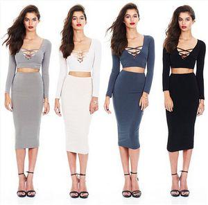 Seksi Parti kadın Giysileri İki Adet Elbise Uzun Kollu Etek Sıska Paket Kalça Bayanlar Giyim Ince Setleri