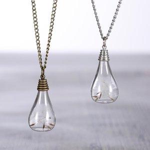 Bombilla de luz de la vendimia en forma de plata plateada Real Diente de León semillas collares pendientes Wish botella collar para mujeres