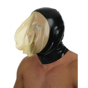 lingerie sexy unisex Handmade personalizza taglia Latex esotico lingerie cekc Fetish nero con maschera trasparente Cappe per il viso Cappuccio