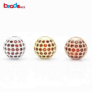 Beadsnice Micro Pave Cz Beads 925 Sterling Silver Round Beads Jewelry Spacer Beads for Bracelet Making ID 25038