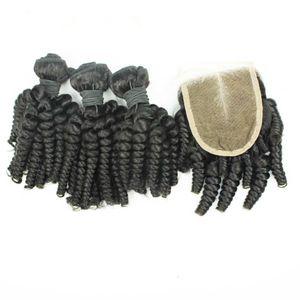 9A Virgin Peruvian Funmi Hair 3Bundles With 1Pc 4x4 Lace Closure 4Pcs Lot Peruvian Aunty Funmi Human Hair With Closure Romance Curls