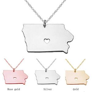 chaud Iowa State Charm Collier, or rose 18 carats pendentif en forme La carte d'état, personnalisé Iowa State avec un coeur gros collier Colliers