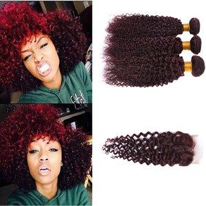 3pcs Lot 브라질 99J 곱슬 머리 Weft 부르고뉴 인간의 머리카락 딥 웨이브 와인 Red Peruvian Hair Weaves Dhl 무료