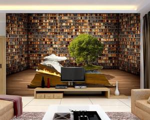 3D photo papier peint personnalisé 3d peintures murales papier peint murale 3D peintures murales Creative Book Shelf Salon Backdrop 3d salon décoration murale