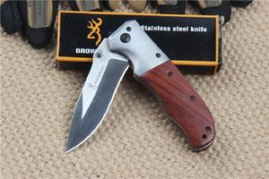 Koleksiyon Browning DA51 Çelik Taktik Katlanır Bıçak 3Cr13MOV 55 HRC Ahşap Kolu Avcılık Survival Pocket Bıçak Kurtarma EDC El Aletleri