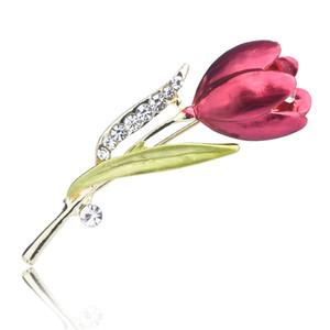 Elegante tulpe blume brosche kristall kostüm schmuck kleidung zubehör schmuck broschen für frauen geschenk hochzeit