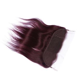 뜨거운 판매 순수한 색상 # 99j 와인 레드 스트레이트 13 * 4 레이스 정면 폐쇄 여자를위한 아기 머리카락 부르고뉴 레이스 프론트와 표백 매듭