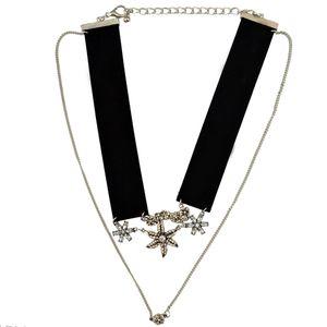 Gotik Kore Moda Siyah Pembe Çiçek Kristal 2 Zincirler Deri Yaka Zincir gerdanlık kolye Takı