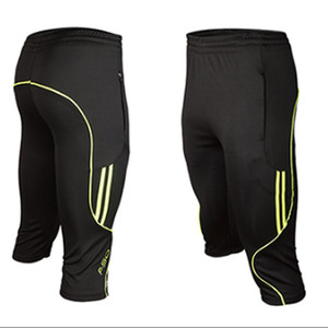 Atacado-2016 3/4 comprimento homens socistas treinamentos calças slim skinny perna pista curta calça respirável masculino ativo Capris executa futebol pant