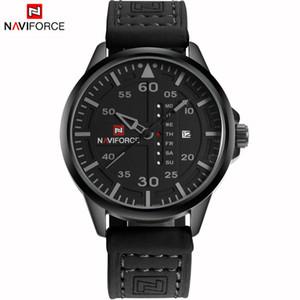 NAVIFORCE Original Gute Qualität Herren Analog Quarz Wasserdicht Sport Leder Band Datum Woche Armbanduhr 9074