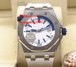 los hombres de alta calidad 42MM reloj A027CA. Pulsera de caucho azul línea blanca en hombres de la llegada Relojes de los hombres reloj automático