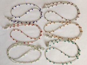 6 adet / grup çeşitli renkli tatlı su inci ve cam boncuklu gözlük kolye zinciri tutucu tutucu
