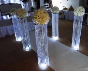 2016 decoração de casamento acrílico pilar de cristal corredor da estrada chumbo com centrais de mesa de luz led para festa de casamento em casa do hotel