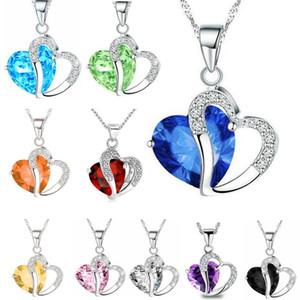 """Женщины мода сердце Кристалл горный хрусталь серебряная цепь кулон ожерелье ювелирные изделия 10 цвет длина 17,7 """" дюймовый LR013"""