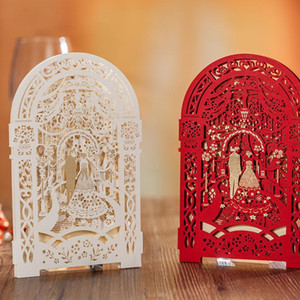 Lindo Laser Cut Convite De Casamento Da Noiva Noivo Branco Vermelho Salvar a Data Grátis Personalizado de Impressão de Texto Suprimentos de Casamento