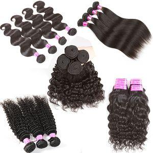 B2B Venta al por mayor Remy Paquetes de armadura de cabello humano Indio de Malasia Peruano Brasileño Onda corporal Virgin Hair Weaves Popular Bangs para mujeres negras