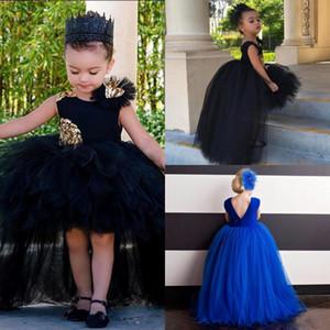 Cute Black Hi Lo Girls Pageant robes avec appliques paillettes jupes moelleuses robes de première communion Custom Made robes de fille de fleur de robe de bal