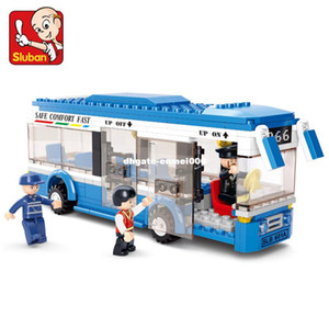 Sluban 0330 빌딩 블록 도시 버스 빌딩 블록 235 + 개 BoysGirls Enlighten 블록 어린이를위한 교육 DIY 벽돌 장난감