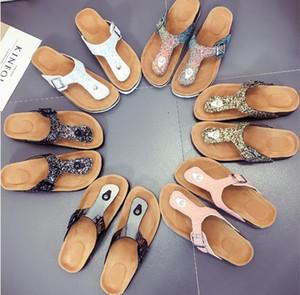 Lady Cork Tongs Paillettes Pantoufles Plage Femmes Sole Slipplaers Pantoufles En Plein Air Sandales Vogue Cool Chaussures De Plage Pantoufle