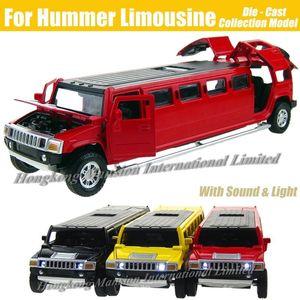 1: 32 Масштаб Сплава Металла Литья Под Давлением Модель Автомобиля Для Hummer Лимузин Роскошный Грузовик Коллекция Модель Отодвинуть Игрушки Автомобиль С SoundLight