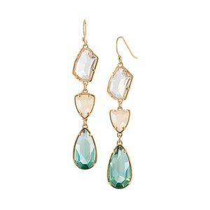 Moda banhado a ouro cristal de pedra dangle brincos gota de água geometria de cristal gemstone brincos para as mulheres de jóias