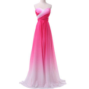 Hot Sale Real Picture Ombre Evening prom dresses Summer New Gradient Colorful Sexy party Dresses vestido de festa prom gowns HJ07