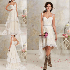 Modern 2019 Two Pieces Wedding Dresses Spaghetti Lace A Line Bridal Gowns With Hi-Lo Short Detachable Skirt Country Bohemian Wedding Gowns