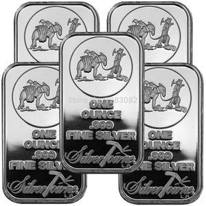 Ons Troy SilverTowne Külçe Gümüş Kaplama Pirinç Çekirdek Bar olmayan magentic gümüş çubuğun tarafından ücretsiz nakliye 20pcs / lot 1oz Bar Gümüş