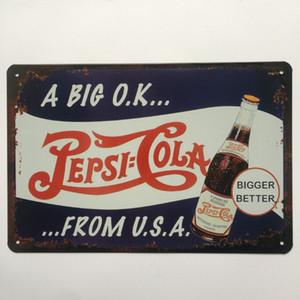 Um grande ok Pepsi Cola Retro Vintage sinal Da lata Do Metal cartaz para o Homem Caverna Garagem chique gasto adesivo de parede Café Bar decoração da sua casa