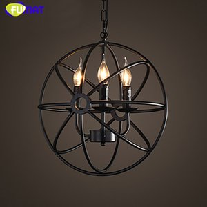 FUMAT Globe Pendant Lights Loft Industrial Iron Suspension Luminaire Loft Lamp Country Vintage Pendant Lamp E14 LED Dia40cm