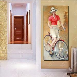 Ride Bicycle Girl Home Decor Wall Art Painting Hecho a mano Imagen en la pared Abstract Girl Pintura al óleo sobre lienzo Sin marco
