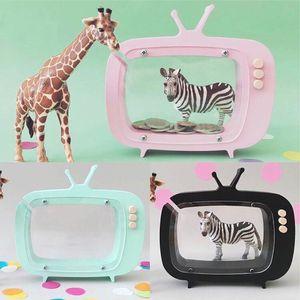 Fotografía nórdica Apoyos Wooden Piggy Bank Kids Room Decoration Manualidades Televisión Patrón Moneda Monedero Figuritas Miniaturas