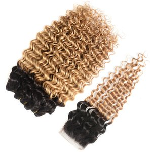 8A Indian Honey Blonde Ombre Hair Bundles with Closure 1B 27 Deep Wave Curly Ombre Human Hair Weaves with Closure
