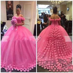 Удивительные платья на плечо свадьбы свадебные платья горячие розовые цветы ручной работы аппликации тюль пухлые свадебные платья Саудовская арабская свадьба Vestidos