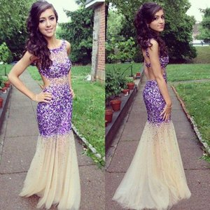 Sparkly 2016 Crystal Beaded Prom Dresses Mermaid Sexy Jewel Backless Cutaway Side Sweep Train Party Gowns Custom Made EN5184