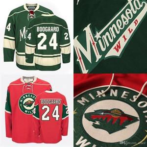 2016 جديد رجل 24 ديريك boogaard 2015 أفضل جودة هوكي الجليد مينيسوتا البرية قميص 100٪ authetic الفانيلة الأخضر الأحمر مخيط حجم s-3xl