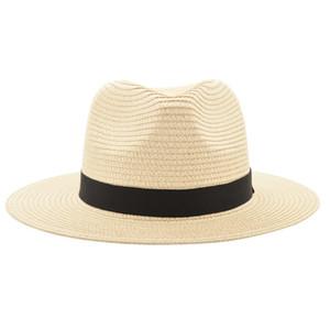 Vintage Panama Chapeau Hommes Paille Fedora Mâle Sunhat Femmes Été Plage Pare-Soleil Chapeau Chapeau Cool Jazz Trilby Cap Sombrero MX17161