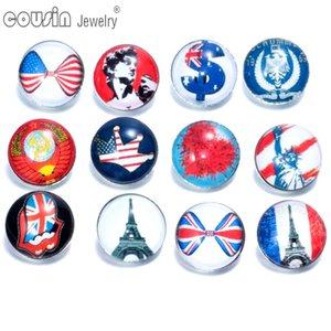12 pz / lotto colori misti paese bandiera 18mm con bottone a pressione gioielli sfaccettato vetro Snap Fit gioielli braccialetto KZ0085