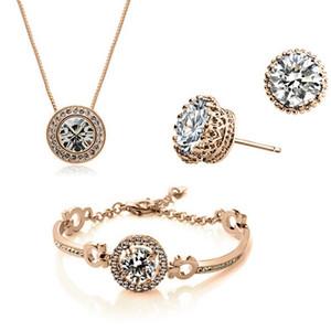 Nueva moda 18 K chapado en oro cristal austriaco collar pulsera pendientes conjunto de joyas hecho con SWAROVSKI ELEMTNS joyería de la boda 3 unids / set