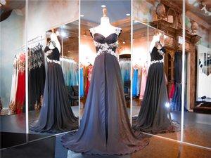 Cap chiffon nero con maniche Prom Dress mano che borda abbellita una linea di abito da sera senza spalline Corpetto vestito da spettacolo