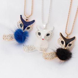Rhinestone Necklace pendant Accessories candy colour Fur Fox Long Necklace Sweater Chain Necklace